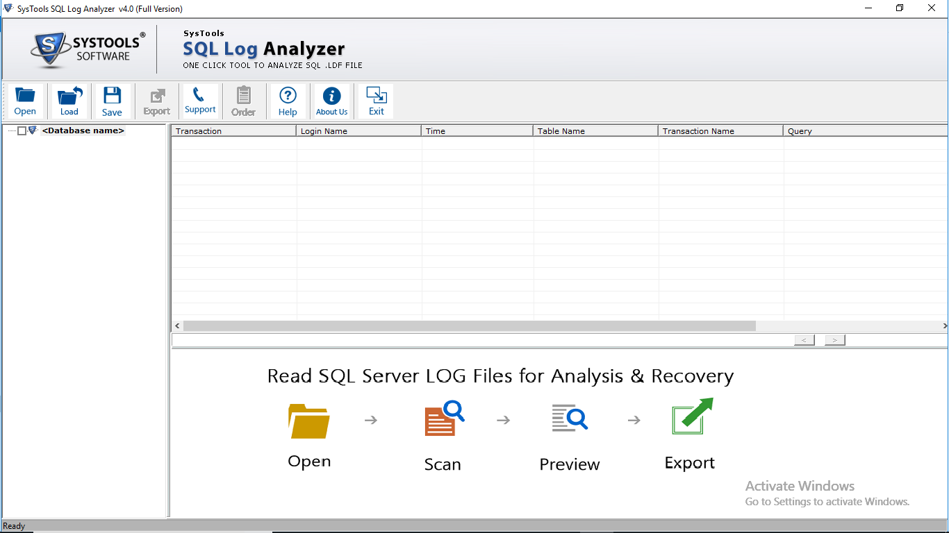 Launch SQL Log Recovery Tool