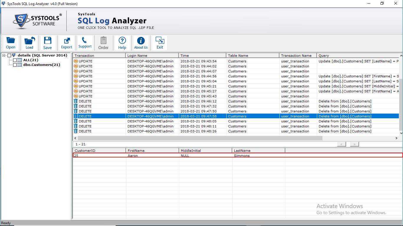 Recover SQL Transaction Logs