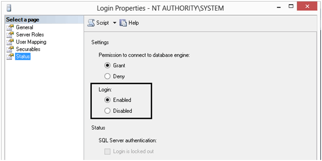 Enabled NT Authority