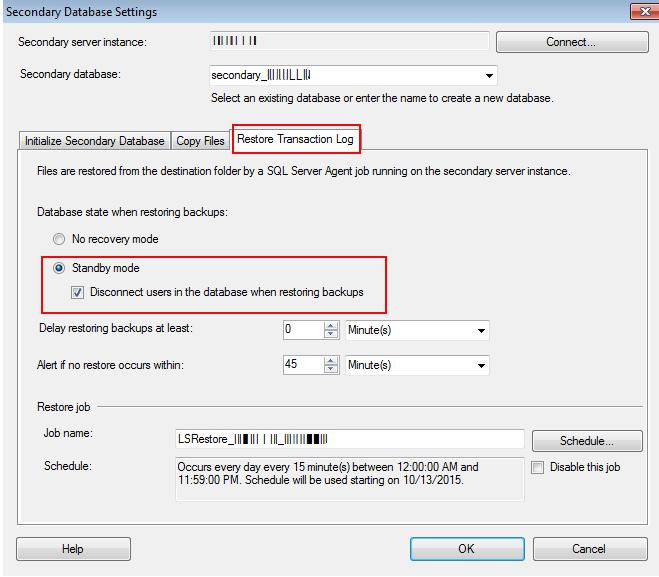 configure SQL Server log shipping
