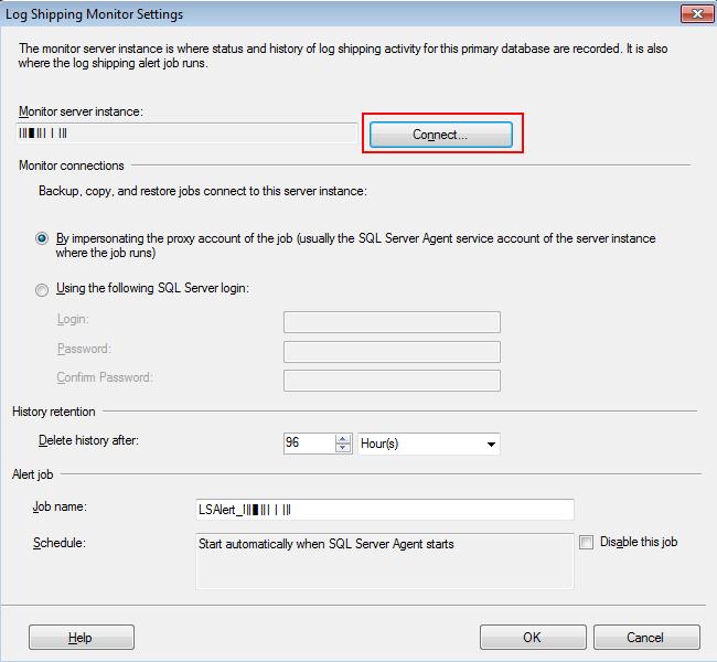 log shipping monitor setting