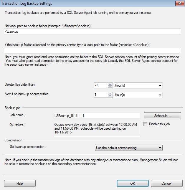 Transaction log backup setting