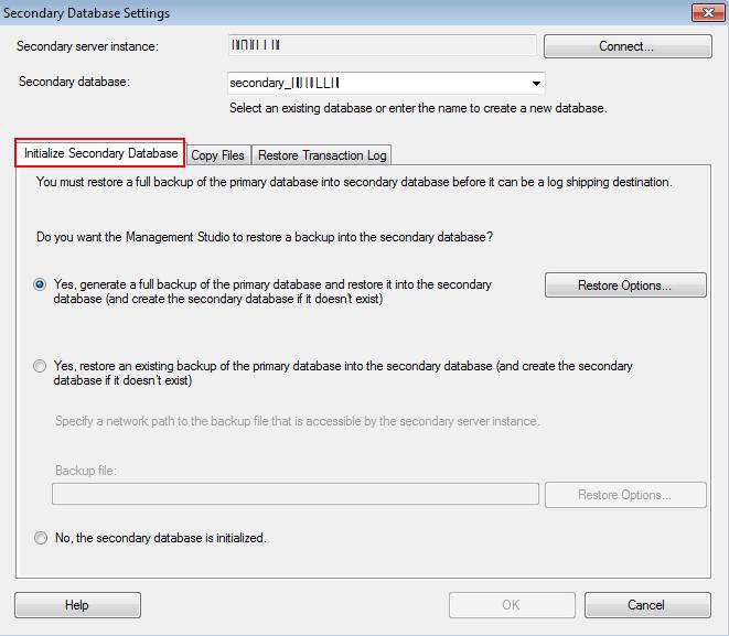 Initialize Secondary Database