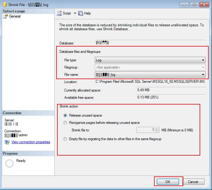 shrink file option