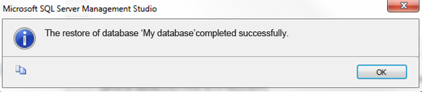 Restore database successfully