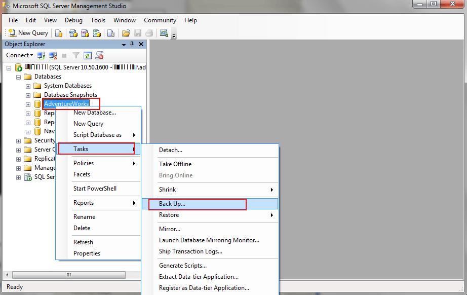 create sql database backup