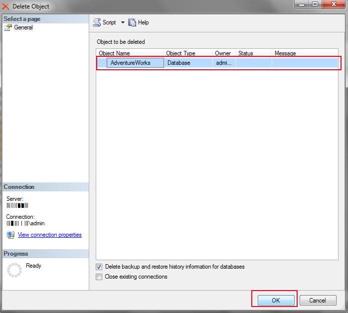 Delete SQL server database
