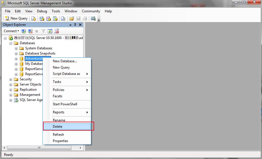 Select delete from drop down menu