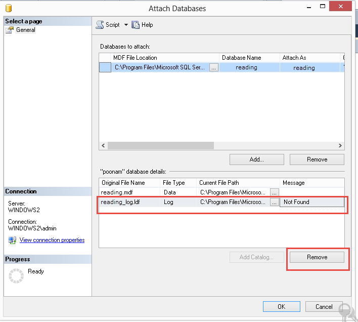 Attach Database Window