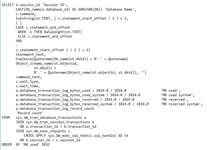 SQL Server Long Running Transaction Alert