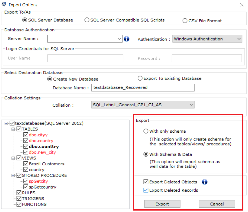 Clic and Select the corrupt SQL database file