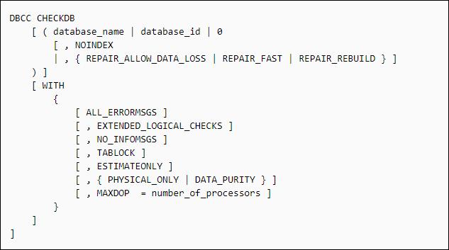 DBCC CHECKDB Repair Allow Data Loss