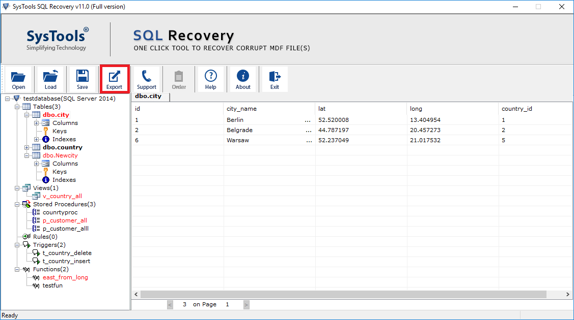 preview recovered database