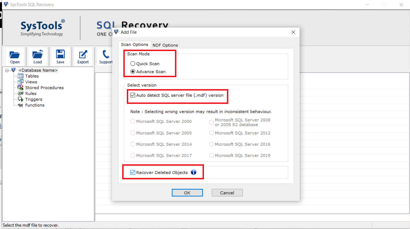 Clic and Select theFix corrupt SQL database file
