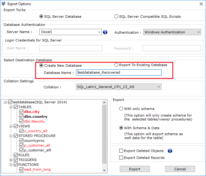 Select destination database to Steps to Copy Stored Procedure From One Server to Another Server