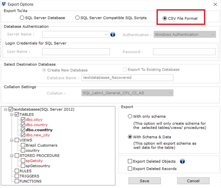 Choose CSV file format